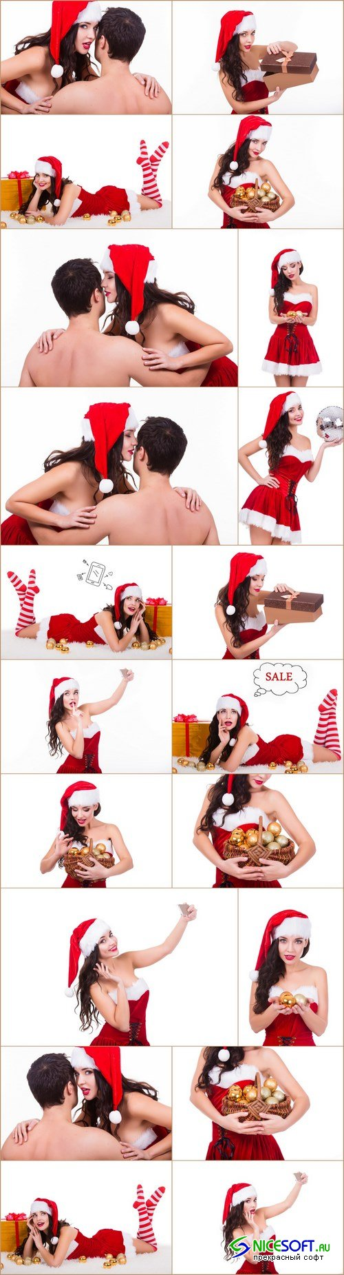 Beautiful young girl dressed as Santa Claus - 20xUHQ JPEG