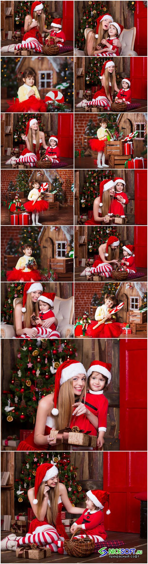 Cute girls sitting with presents near Christmas tree in Santa costumes - 14xUHQ JPEG