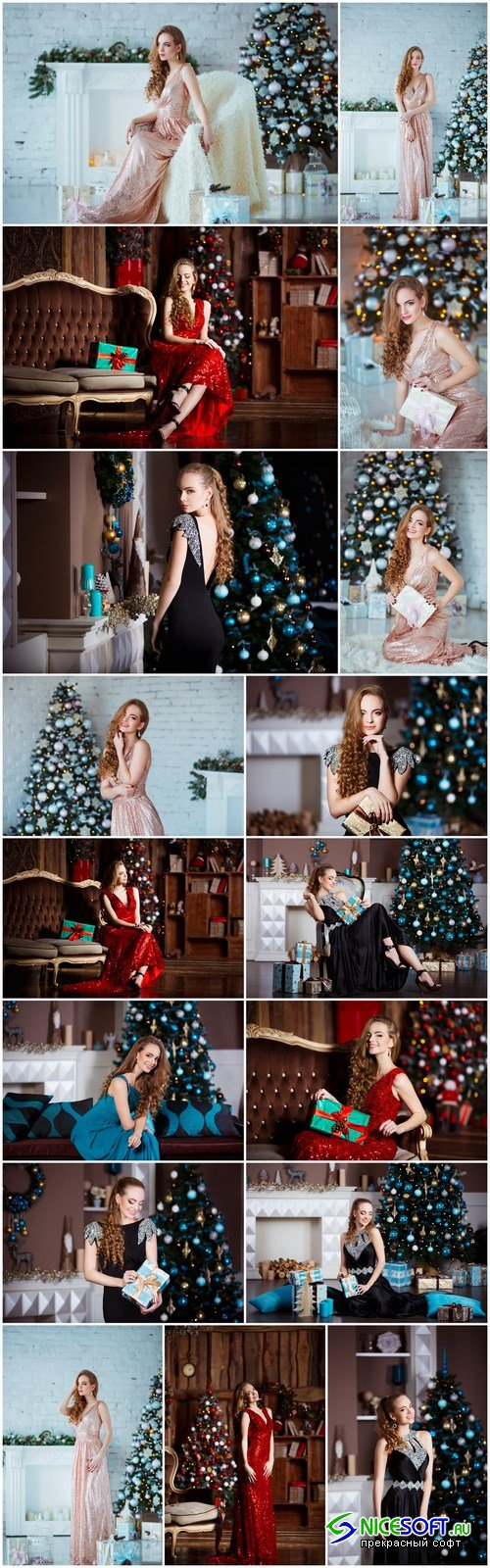 Young woman in elegant dress over christmas interior background 2 - 17xUHQ JPEG