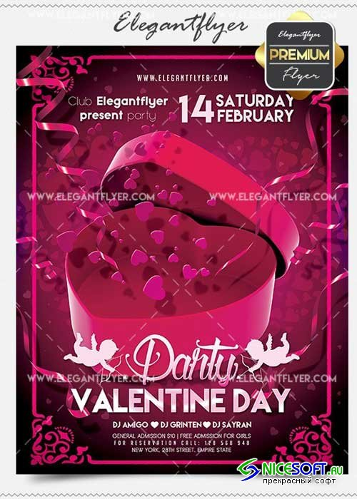 Valentine's day Party Flyer PSD V03 Template + Facebook Cover