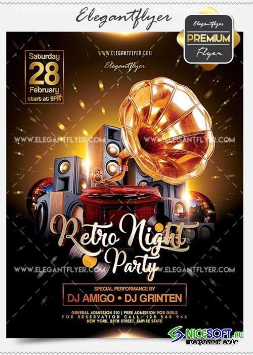 Retro Night Party Flyer PSD V13 Template + Facebook Cover