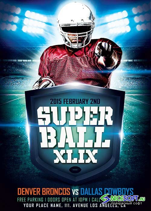 Super Ball Game XLIX V1 Flyer Template