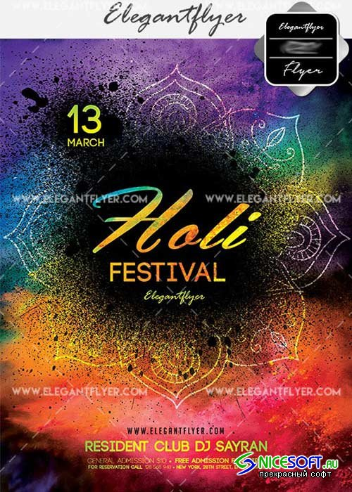 Holi Festival Flyer PSD V8 Template + Facebook Cover