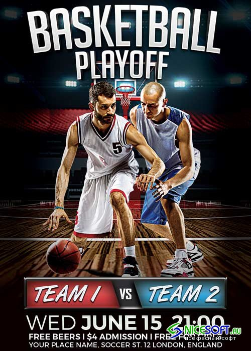 Basketball Playoff V9 Flyer Template