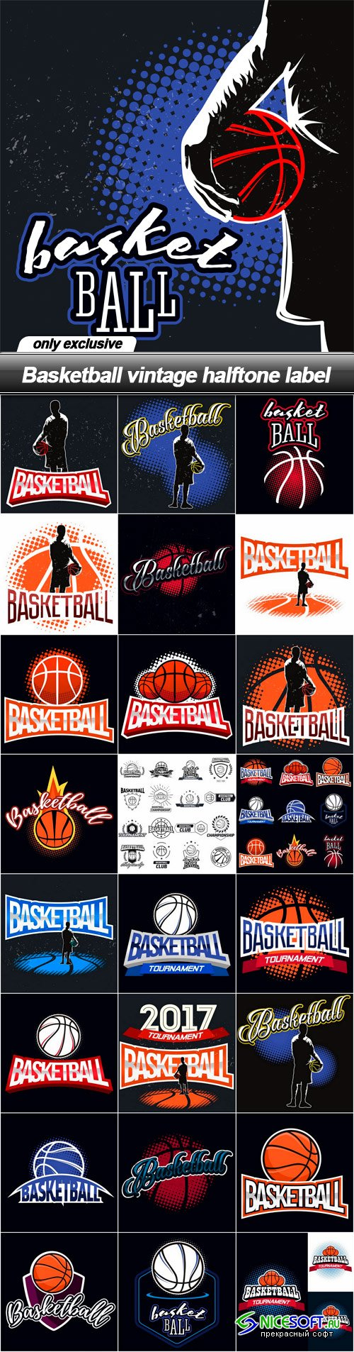 Basketball vintage halftone label