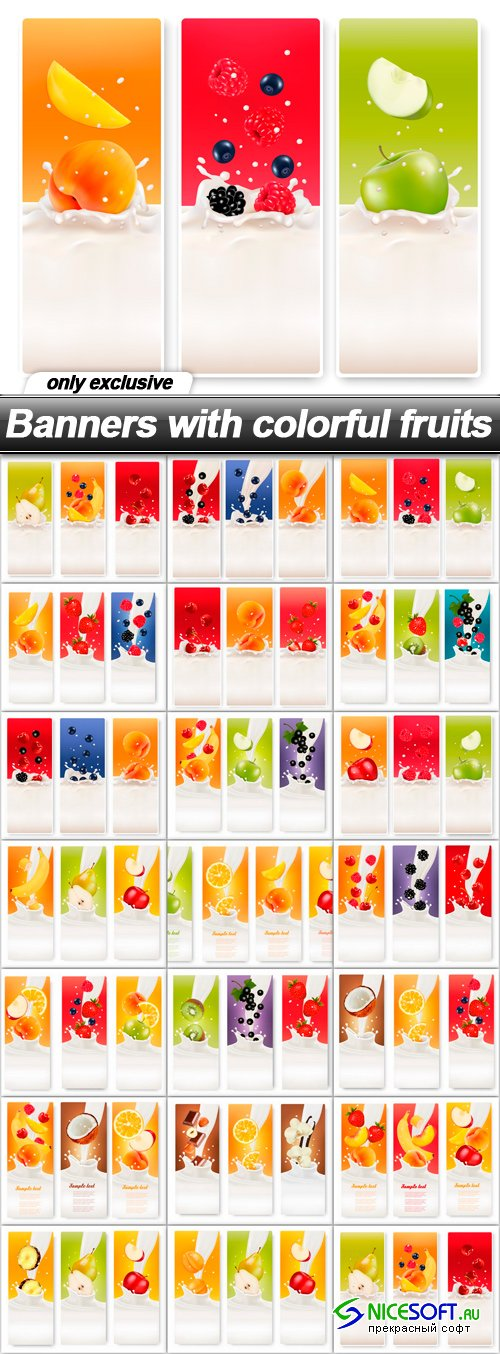 Banners with colorful fruits