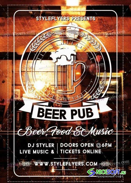 Beer Pub PSD V18 Flyer Template