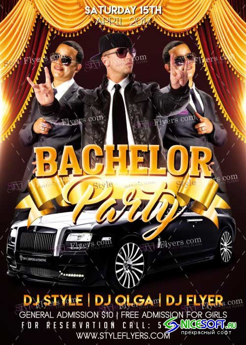 Bachelor Party PSD V8 Flyer Template