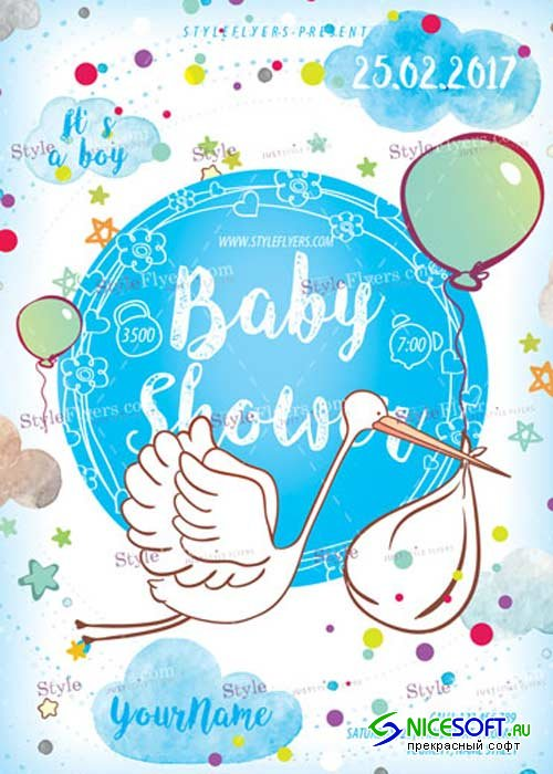 Baby Shower PSD V17 Flyer Template