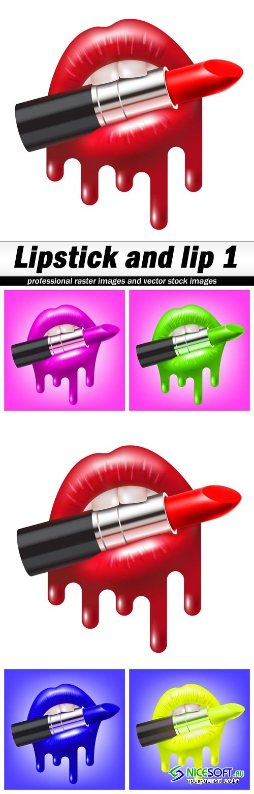 Lipstick and lip 1 - 5 EPS