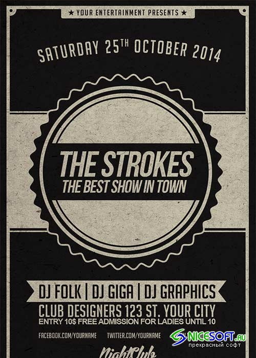 The Strokes V12 Flyer Template