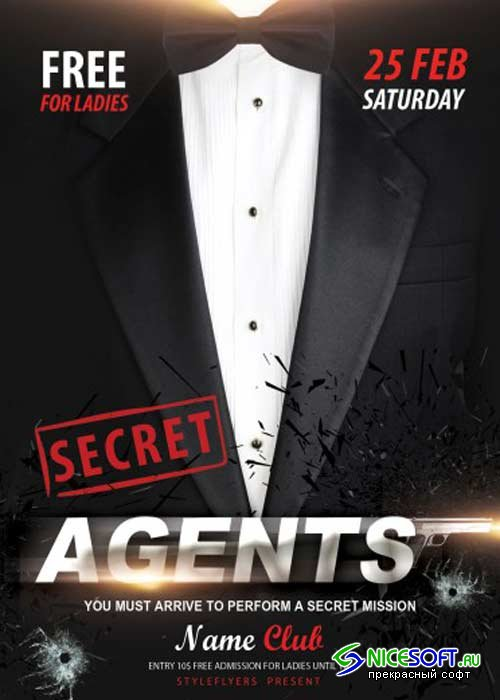 Secret Agents Party V10 PSD Flyer Template with Facebook Cover