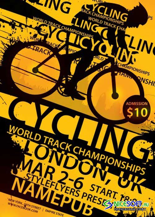 Cycling. World Track Championships PSD Flyer Template with Facebook Cover