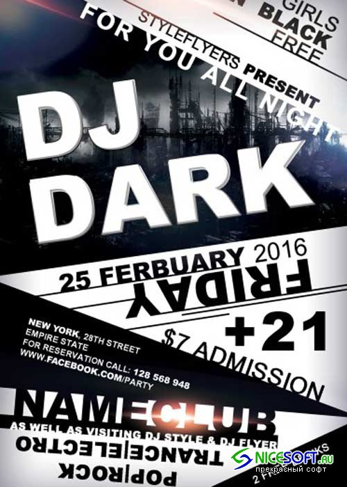 Dj Dark PSD Flyer Template with Facebook Cover