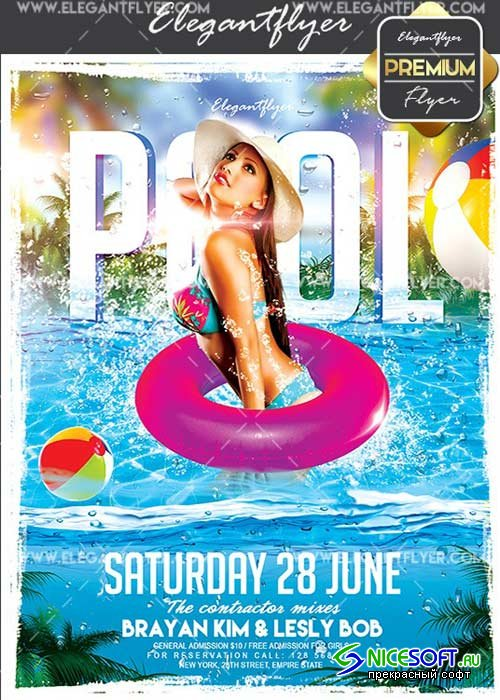 Pool Party V13 Flyer PSD Template + Facebook Cover