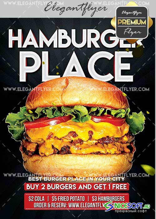 Hamburger Place V10 Flyer PSD Template + Facebook Cover