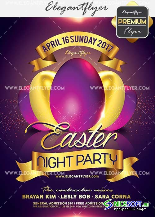 Easter Night Party V27 Flyer PSD Template + Facebook Cover