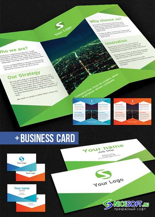 Modern Business Tri-Fold Brochure V14 PSD Template