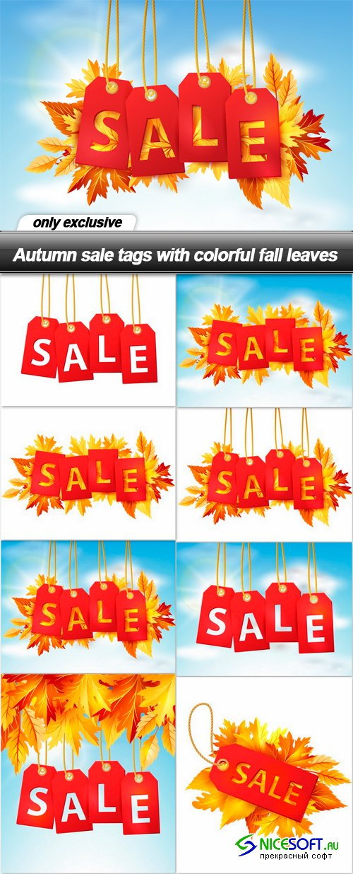 Autumn sale tags with colorful fall leaves