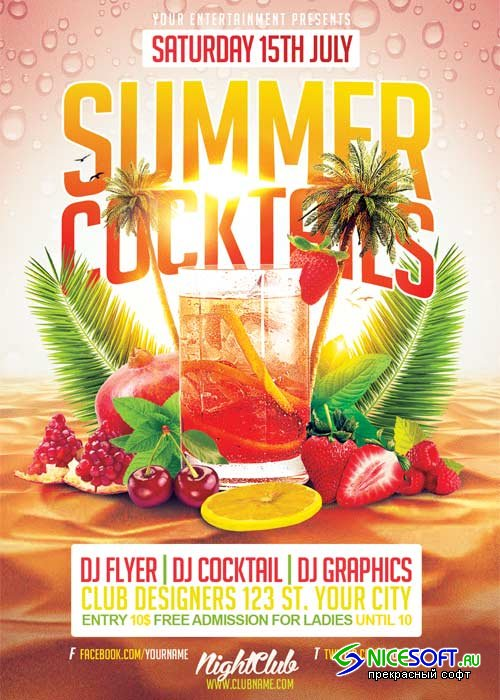 Summer Cocktails V21 Flyer Template