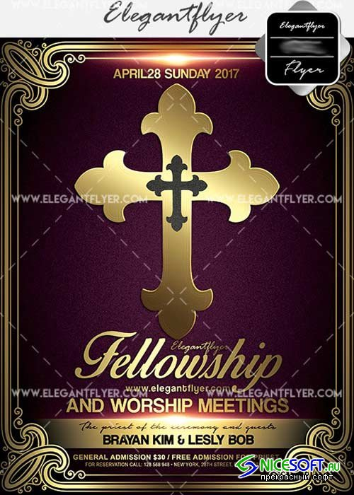 Fellowship and Worship Meetings V1 Flyer PSD Template + Facebook Cover