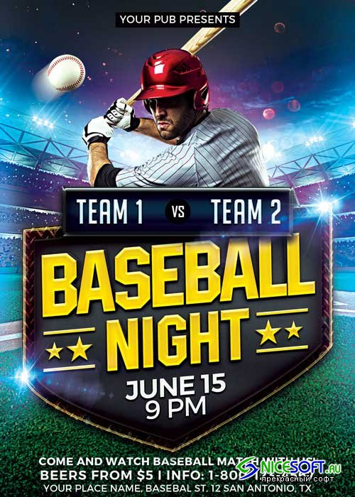 Baseball Match V5 Flyer Template
