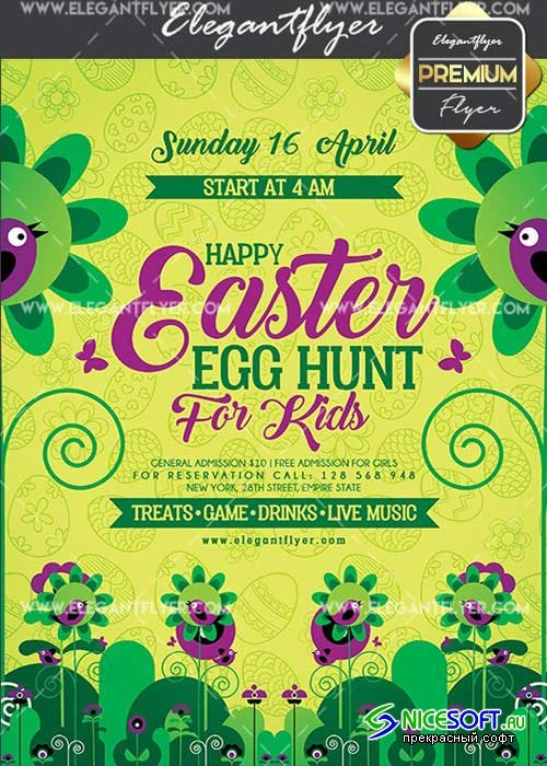 Happy Easter Egg Hunt For Kids V1 Flyer PSD Template + Facebook Cover