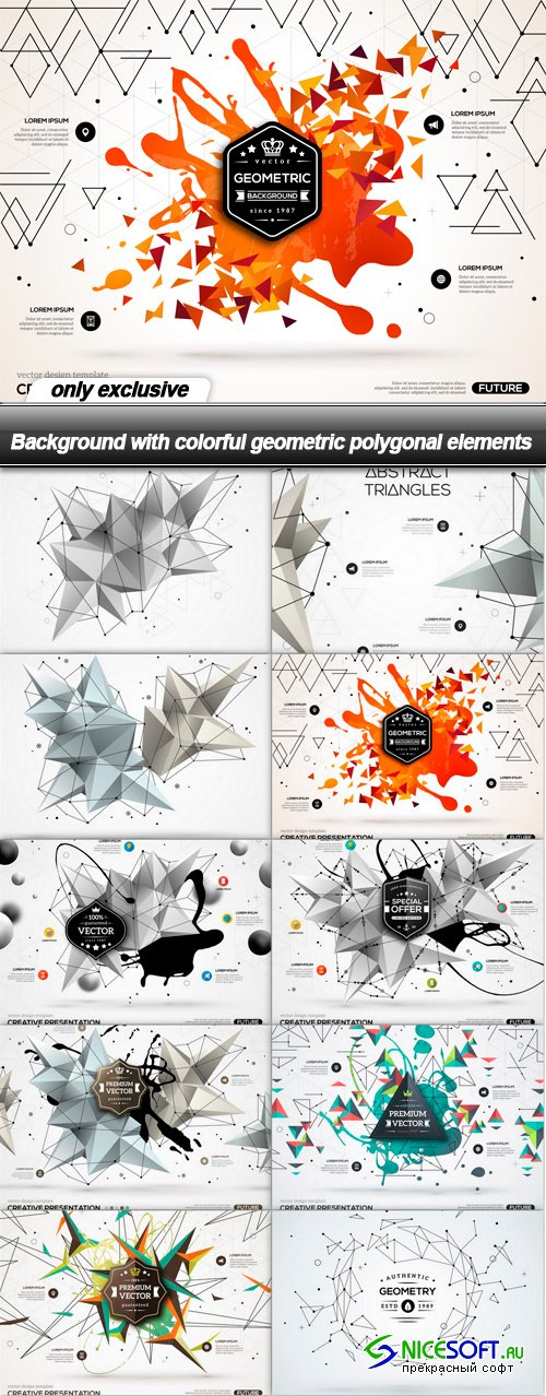 Background with colorful geometric polygonal elements