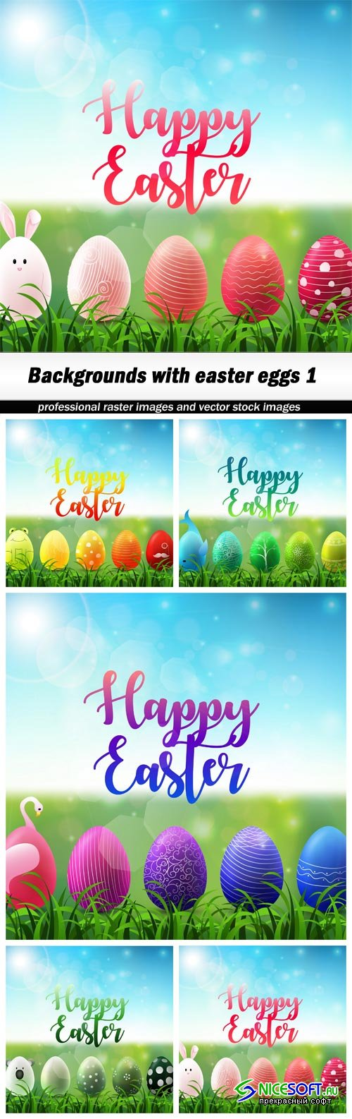 Backgrounds with easter eggs 1 - 5 UHQ JPEG