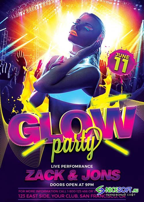 UV Glow Party V15 Flyer Template