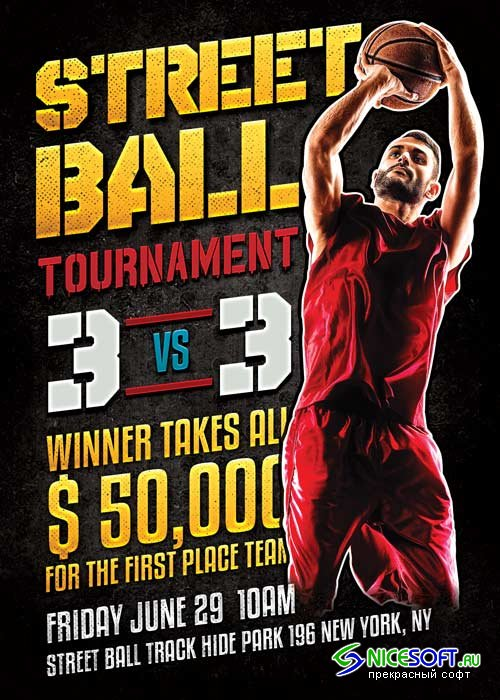 Street Ball Basketball V20 Flyer Template