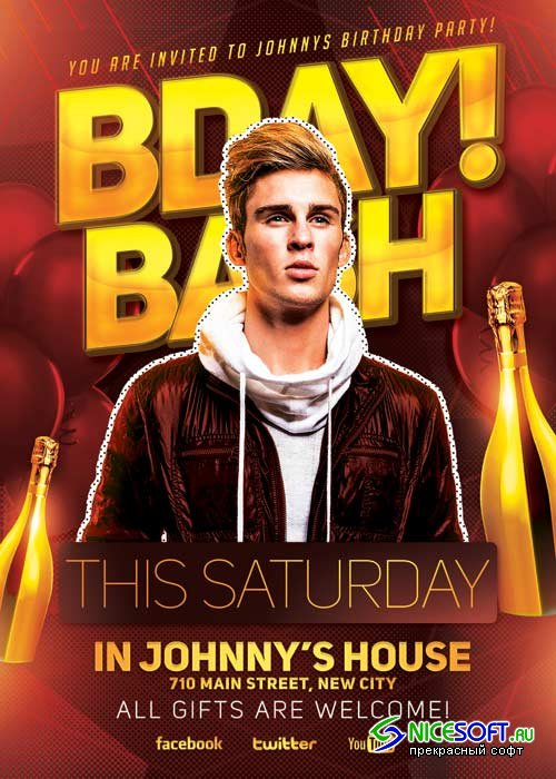 Bday Bash Party V14 Flyer Template