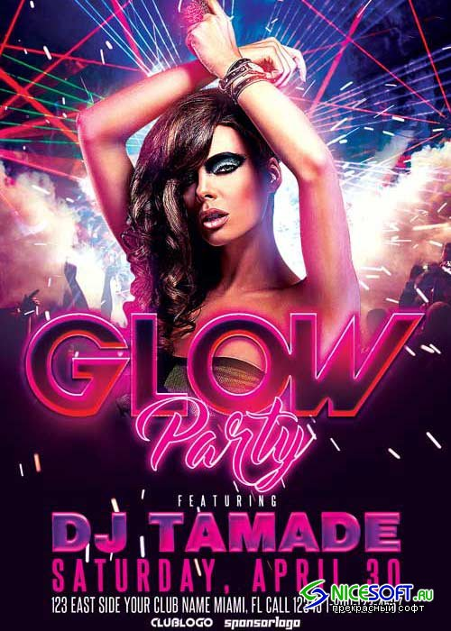 Glow Party Club V10 Flyer Template