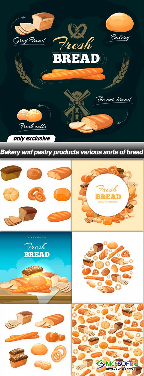 Bakery and pastry products various sorts of bread
