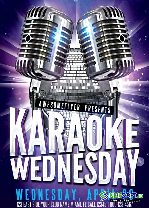 Karaoke Wednesday Party V10 Flyer Template