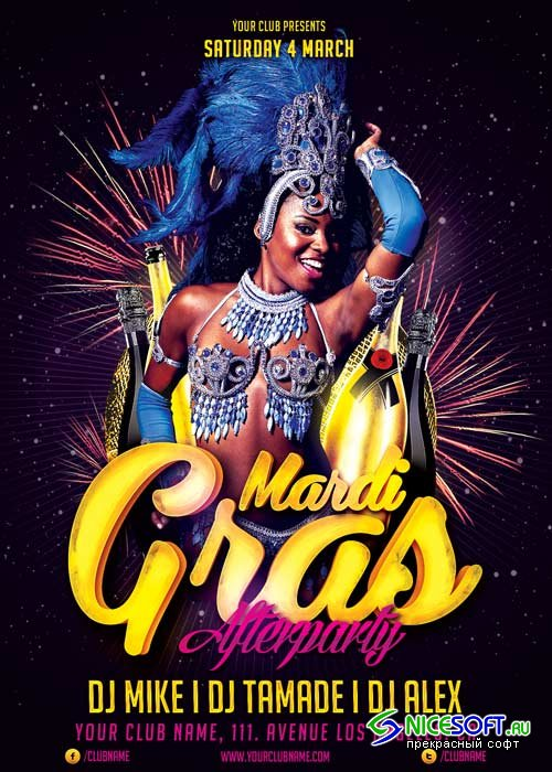 Mardi Gras Afterparty V12 Flyer Template