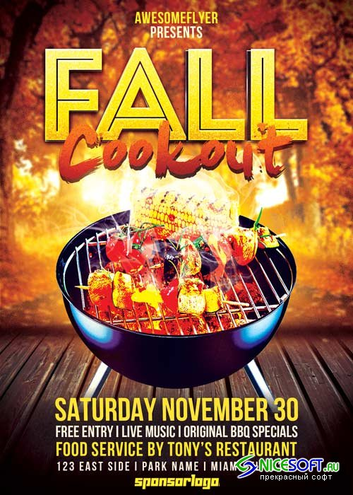 Fall Cookout V20 Flyer Template
