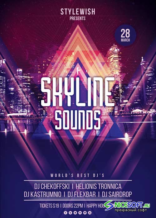 Skyline Sounds V12 Flyer Template