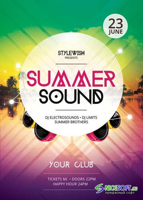 Summer Sound V12 Flyer Template