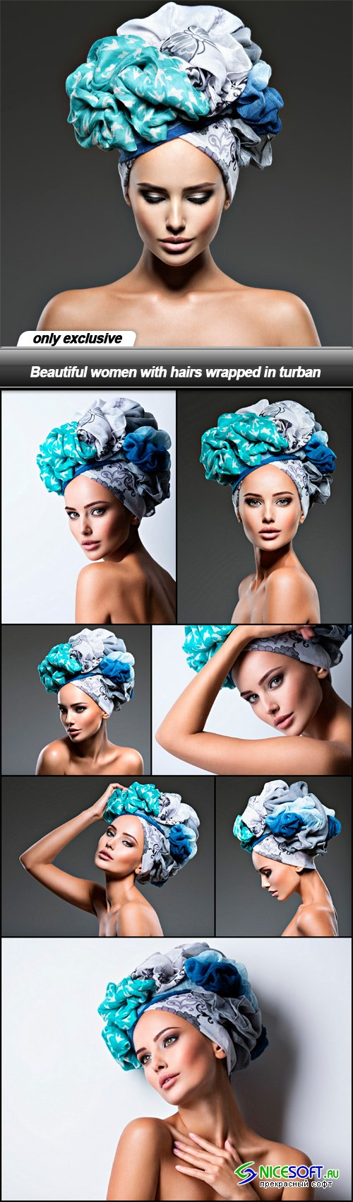 Beautiful women with hairs wrapped in turban