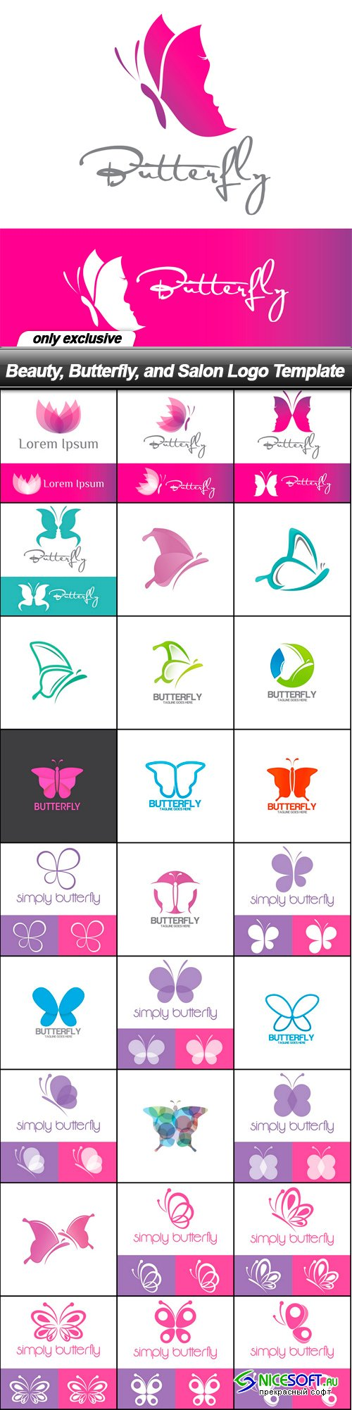 Beauty, Butterfly, and Salon Logo Template