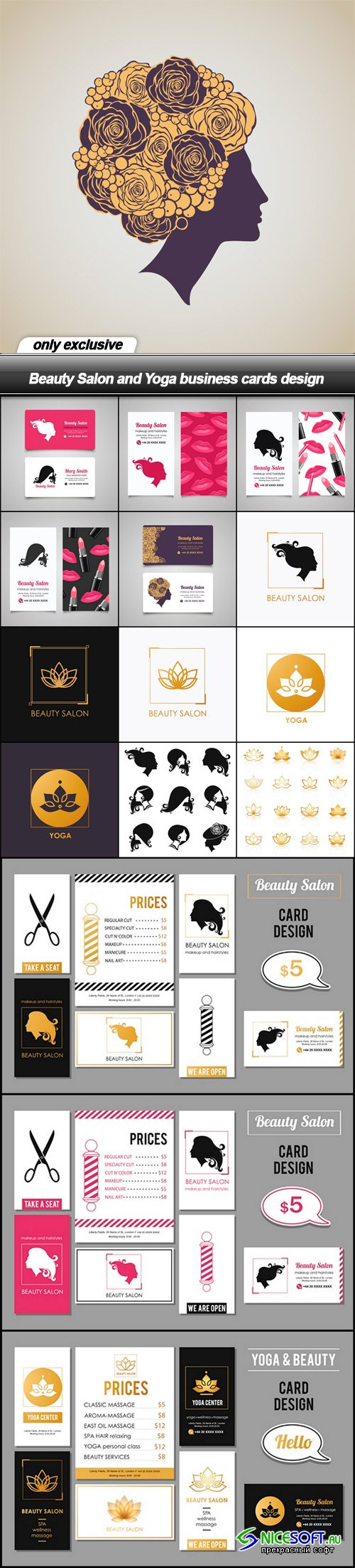 Beauty Salon and Yoga business cards design