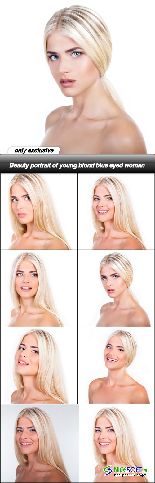 Beauty portrait of young blond blue eyed woman