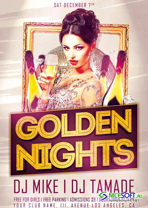 Golden Night Party V17 Flyer Template