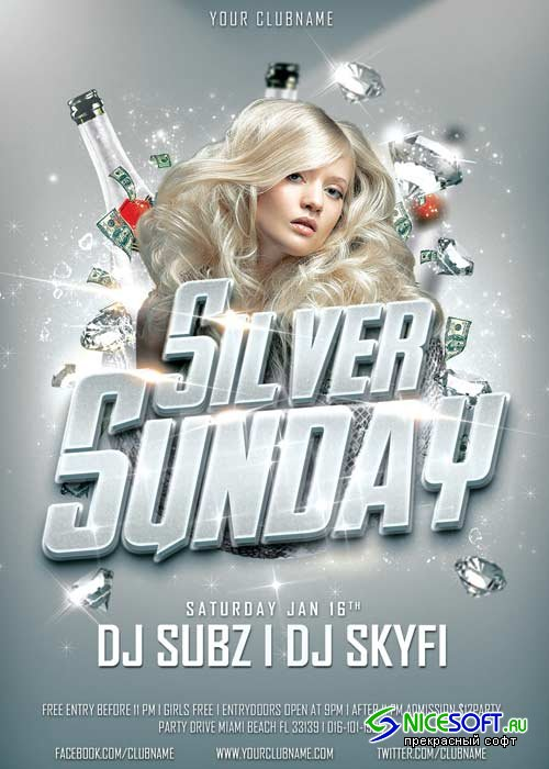 Silver Sunday Club V11 Party Flyer Template