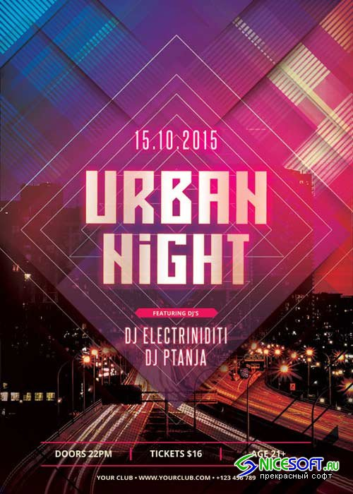 Urban Night V21 Flyer PSD Template