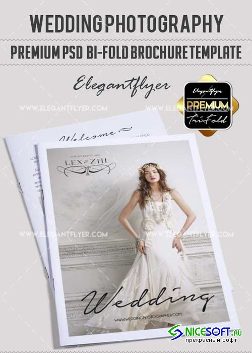Wedding Photography V17 Premium Bi-Fold PSD Brochure Template
