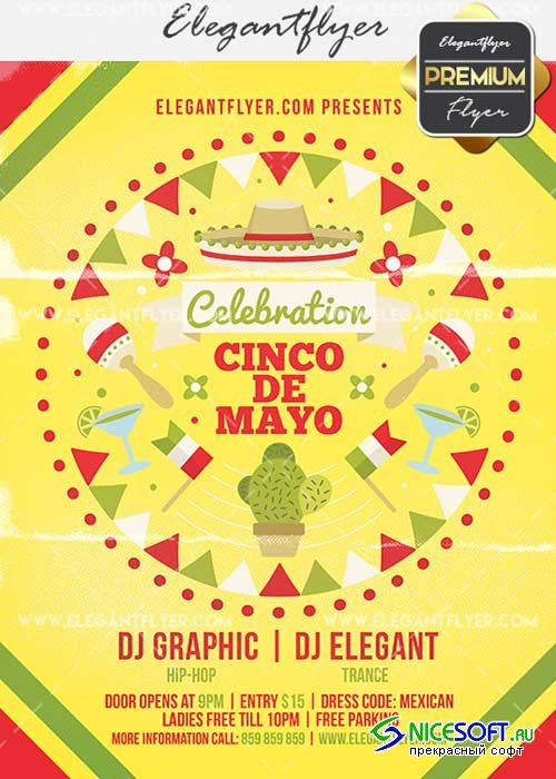 Cinco de Mayo Celebration V16 Flyer PSD Template + Facebook Cover