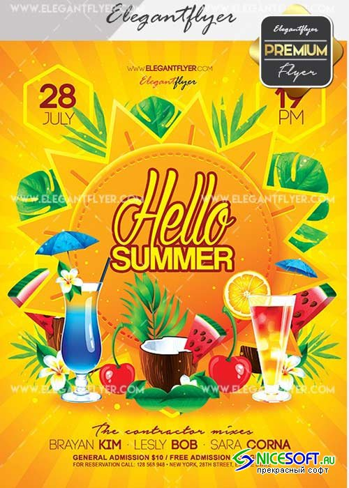 Hello Summer V19 Flyer PSD Template + Facebook Cover