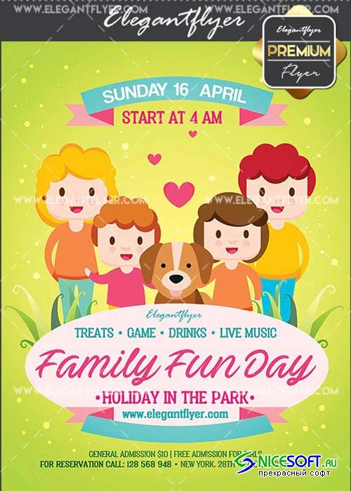 Family Fun Day V14 Flyer PSD Template + Facebook Cover